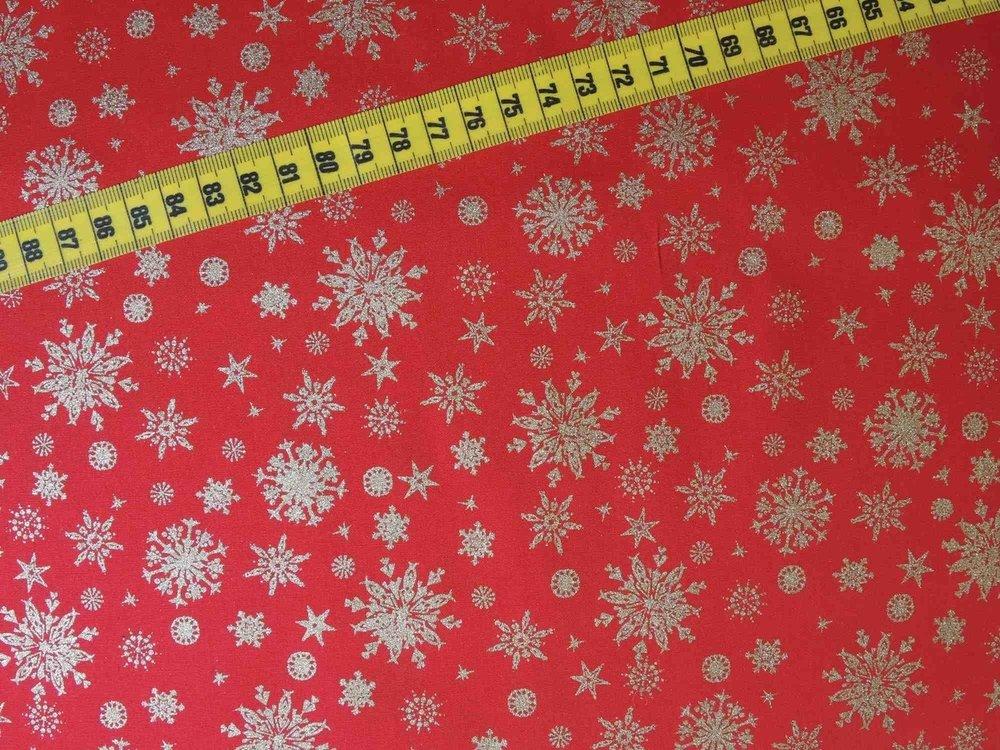 Kerststoffen Sneeuwkristal rood/zilver