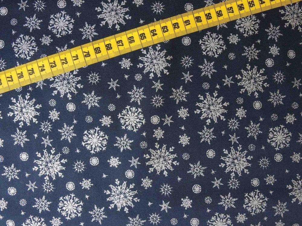Kerststoffen Sneeuwkristal blauw/zilver