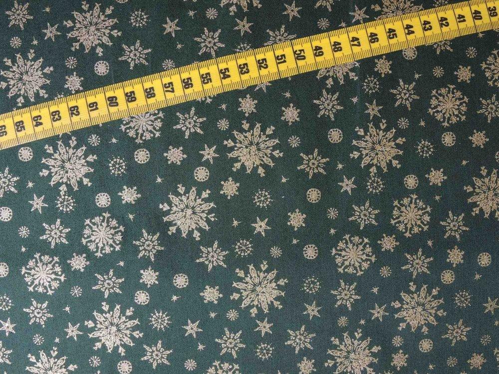 Kerststoffen Sneeuwkristal groen/goud