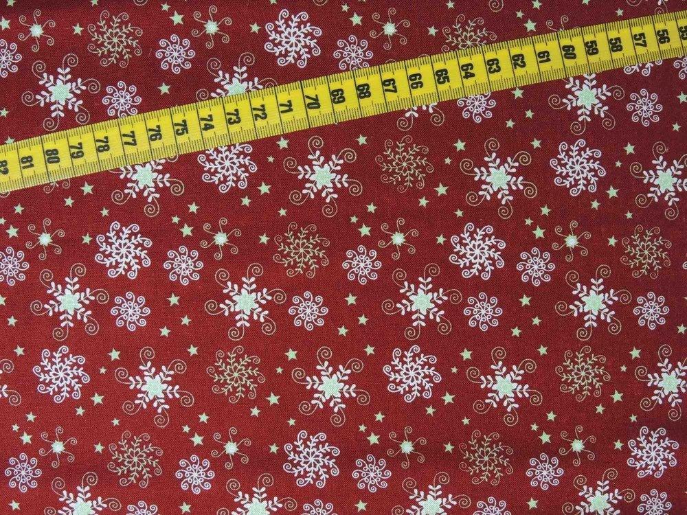 Kerststoffen Sneeuwkristal-1 rood/wit